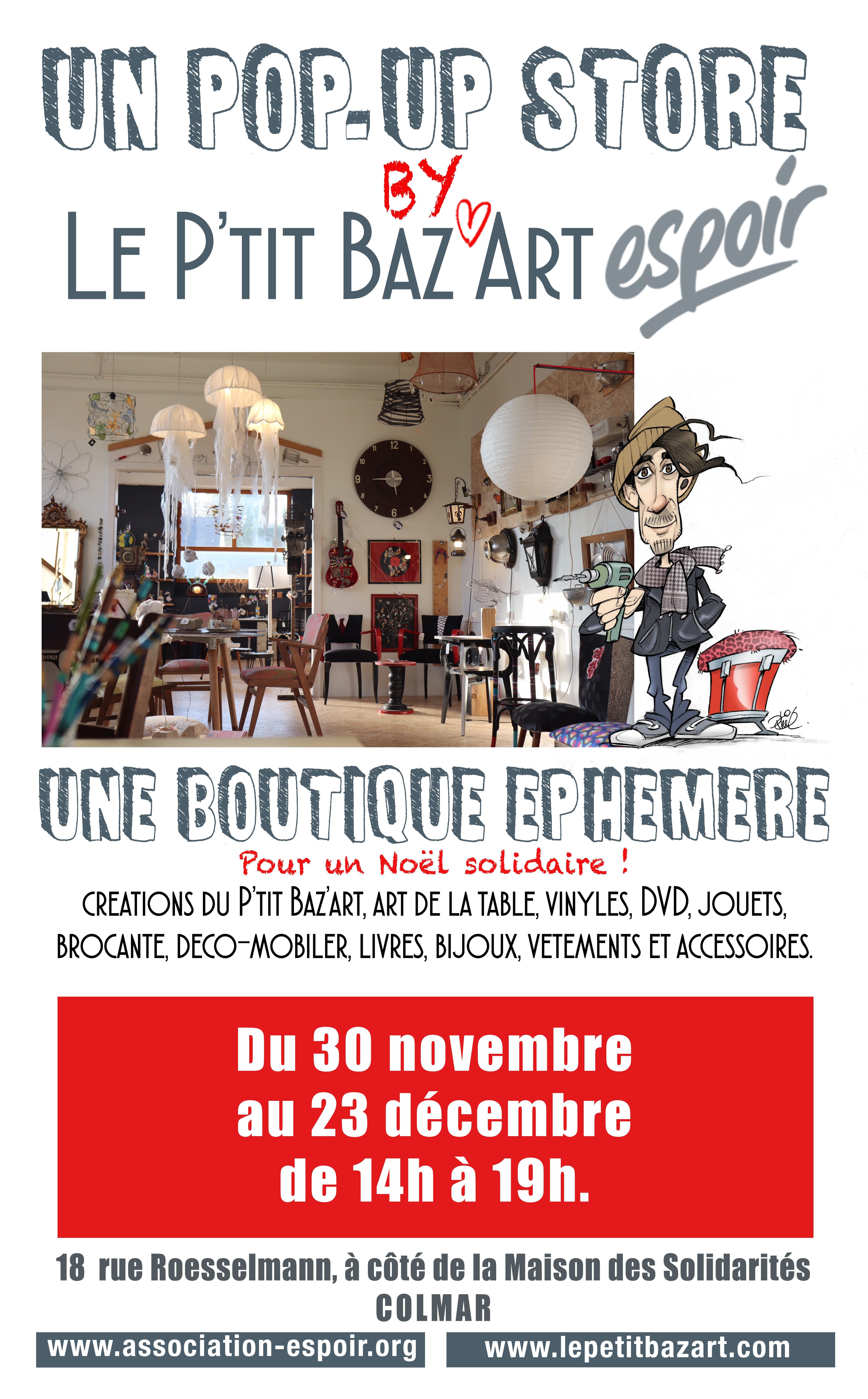 Boutique éphémère, Association Espoir Colmar, Association humanitaire Alsace, Association Colmar, Hébergement Colmar